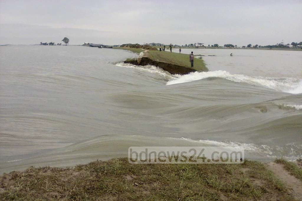 Sunamganj's Shanir Haor is the latest backswamp to be hit by flash floods caused by heavy rains. The embankment was breached on early Sunday in three locations inundating the Boro crops as the harvesting season nears.