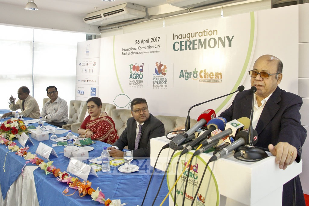 Food Minister Md Qamrul Islam speaking at the inaugural ceremony of the 'Second Food and Agro, Agrocam cum Poultry and Livestock Bangladesh Expo-2017' at International Convention City Bashundhara in Dhaka on Wednesday. Photo: tanvir ahammed