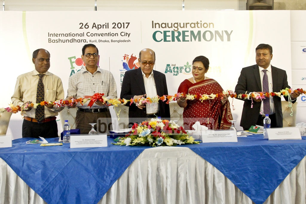 Food Minister Md Qamrul Islam inaugurates the 'Second Food and Agro, Agrocam cum Poultry and Livestock Bangladesh Expo-2017' at International Convention City Bashundhara in Dhaka on Wednesday. Photo: tanvir ahammed