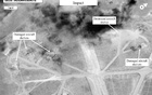 FILE PHOTO: Battle damage assessment image of Shayrat Airfield, Syria, is seen in this DigitalGlobe satellite image, released by the Pentagon following U.S. Tomahawk Land Attack Missile strikes from Arleigh Burke-class guided-missile destroyers, the USS Ross and USS Porter... Reuters