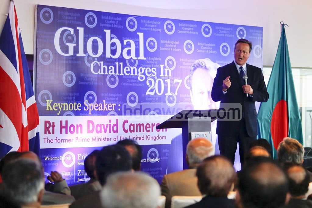 Former British prime minister David Cameron speaks for a common narrative to fight terror ideology at a discussion on 'Global Challenges 2017' in Gulshan on Thursday. Photo: mostafigur rahman
