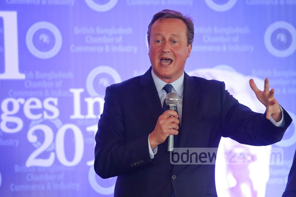 Former UK prime minister David Cameron speaks at the discussion 'Global Challenges 2017' in Gulshan on Thursday. Photo: mostafigur rahman