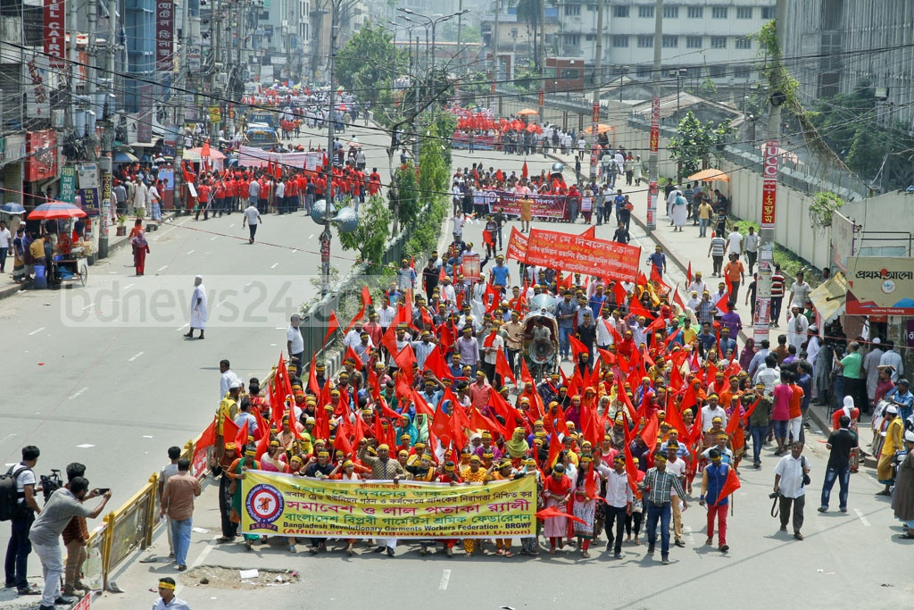 Several workers' bodies take out a procession in Dhaka on Monday to commemorate the historic May Day. Photo: tanvir ahammed