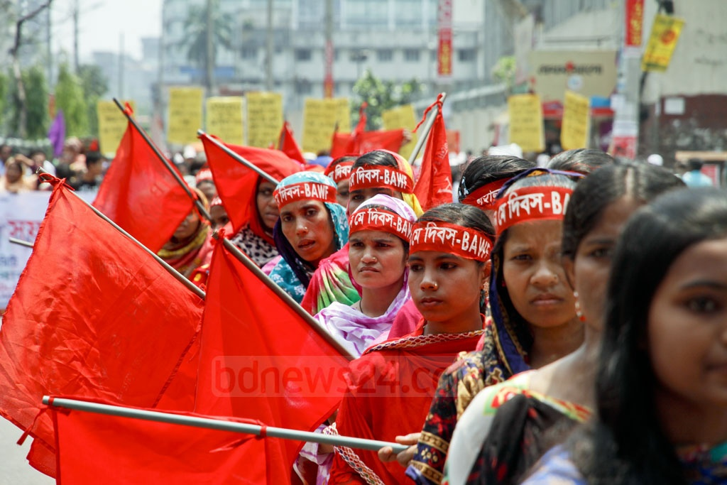 Workers take out a procession in Dhaka on Monday to observe the historic May Day. Photo: tanvir ahammed