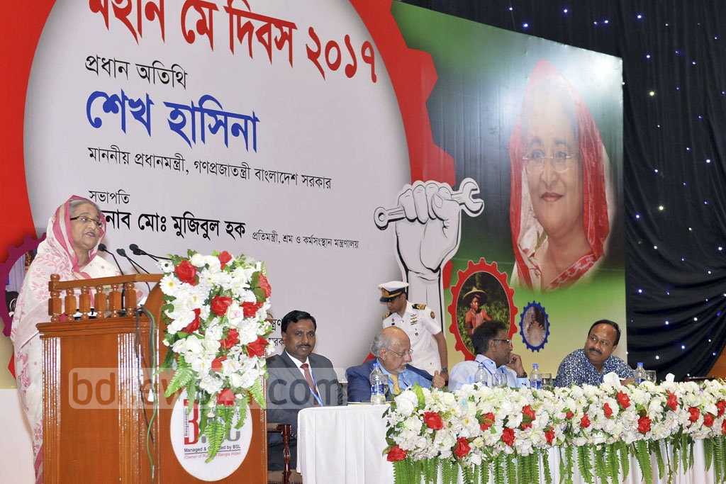 Prime Minister Sheikh Hasina speaks at a May Day discussion organised by Labour and Employment Ministry at the Bangabandhu International Conference Centre on Monday.