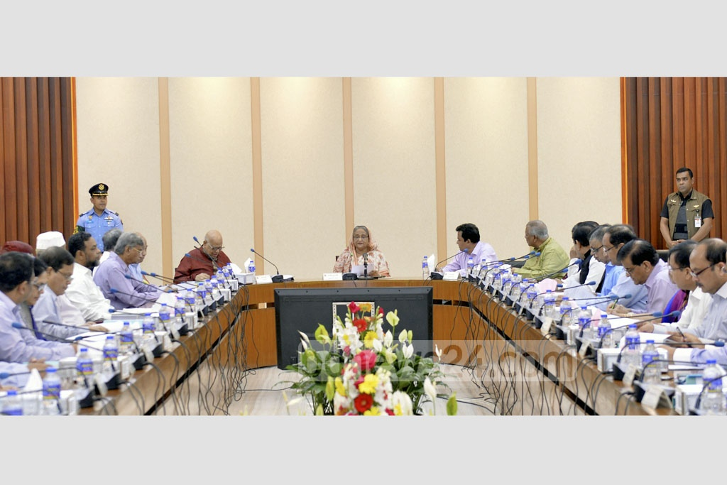 Prime Minister Sheikh Hasina presides over a meeting of Executive Committee of National Economic Council at the NEC Conference Room in Dhaka's Sher-e-Bangla Nagar on Tuesday. Photo: PID