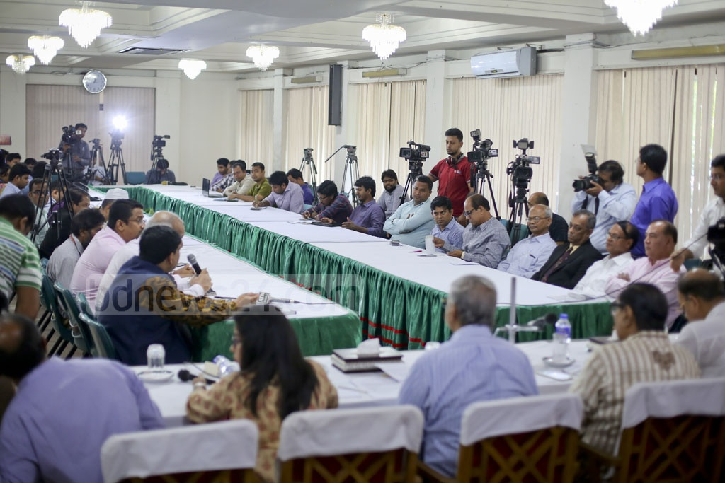 Aviation and Tourism Journalists Forum of Bangladesh hold a budget discussion on civil aviation and tourism at a hotel in Dhaka's Mohakhali on Wednesday. Photo: asaduzzaman pramanik