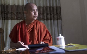 Myanmar's firebrand Buddhist monk Wirathu sits in a supporter's home during a Reuters interview in Yangon, Myanmar in this file photo dated October 4, 2015. Reuters