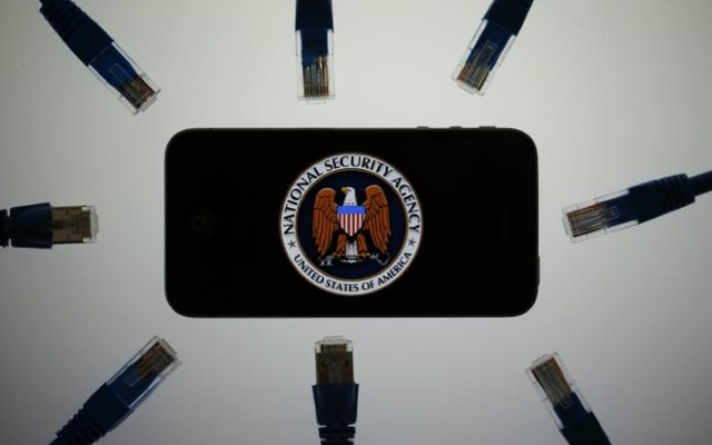 An illustration picture shows the logo of the US National Security Agency on the display of an iPhone in Berlin, Jun 7, 2013. Reuters