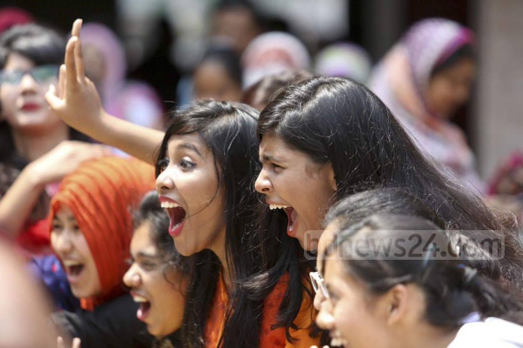 Students of Dhaka's Motijheel Ideal School celebrate their success in this year's SSC exams on Thursday. Photo: asaduzzaman pramanik