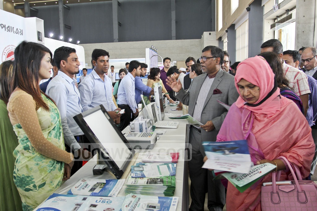 State Minister for Health and Family Welfare Jahid Malek Swapan goes round the Meditex 2017, a three-day exhibition of medical equipment, at Dhaka's Bashundhara International Convention City on Thursday. Photo: asif mahmud ove