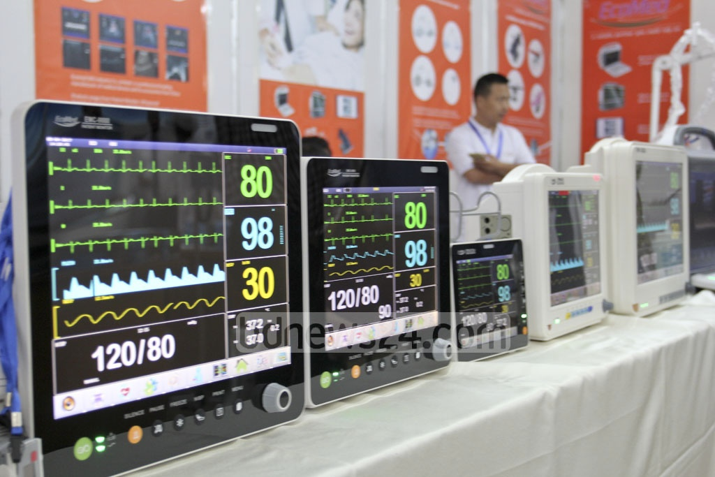 Devices to detect diseases on display at Meditex 2017, a three-day exhibition of medical equipment, at Dhaka's Bashundhara International Convention City on Thursday. Photo: asif mahmud ove