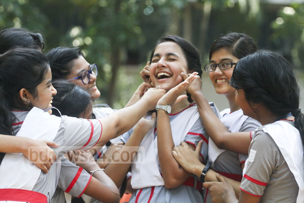 Students of Holy Cross School and College in Dhaka bask in the joy of performing well in the SSC exams, the results of which were published on Thursday. Photo: abdul mannan