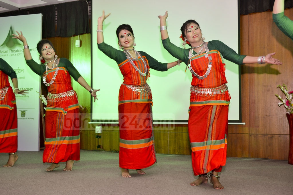 Dancers perform on the opening day of the Asian Theatre Summit in Dhaka's Shilpakala Academy on Friday.