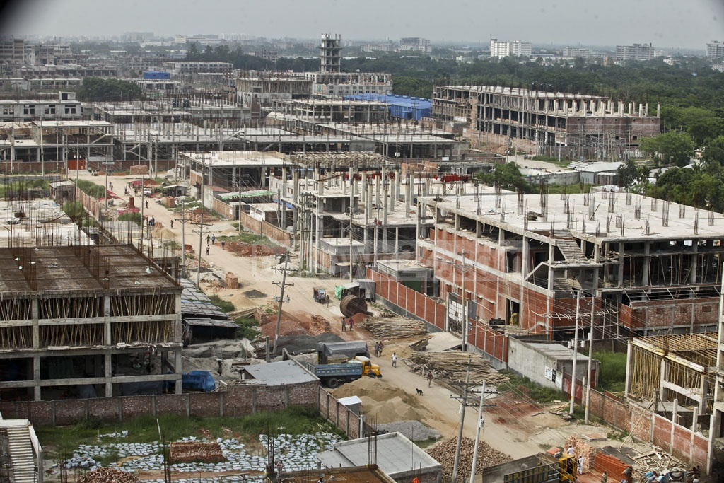 These are some of the many under-construction buildings at the leather industrial city in Savar's Hemayetpur. The picture is taken on Saturday. Photo: tanvir ahammed