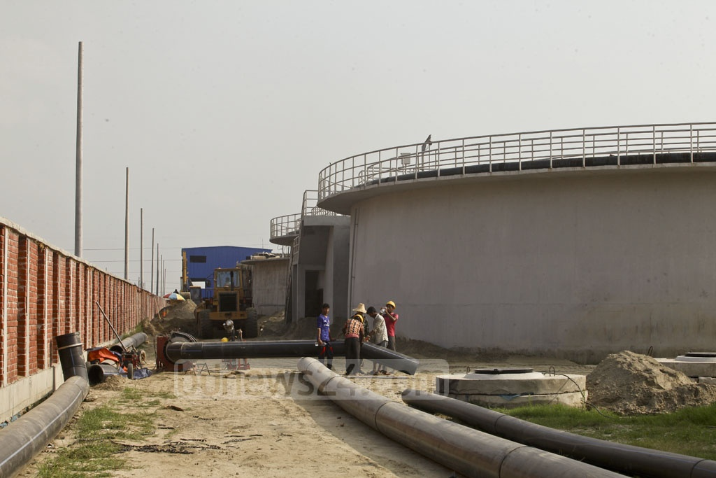 Work to build the central effluent treatment plant at the leather industrial city in Savar's Hemayetpur is under way. Photo: tanvir ahammed