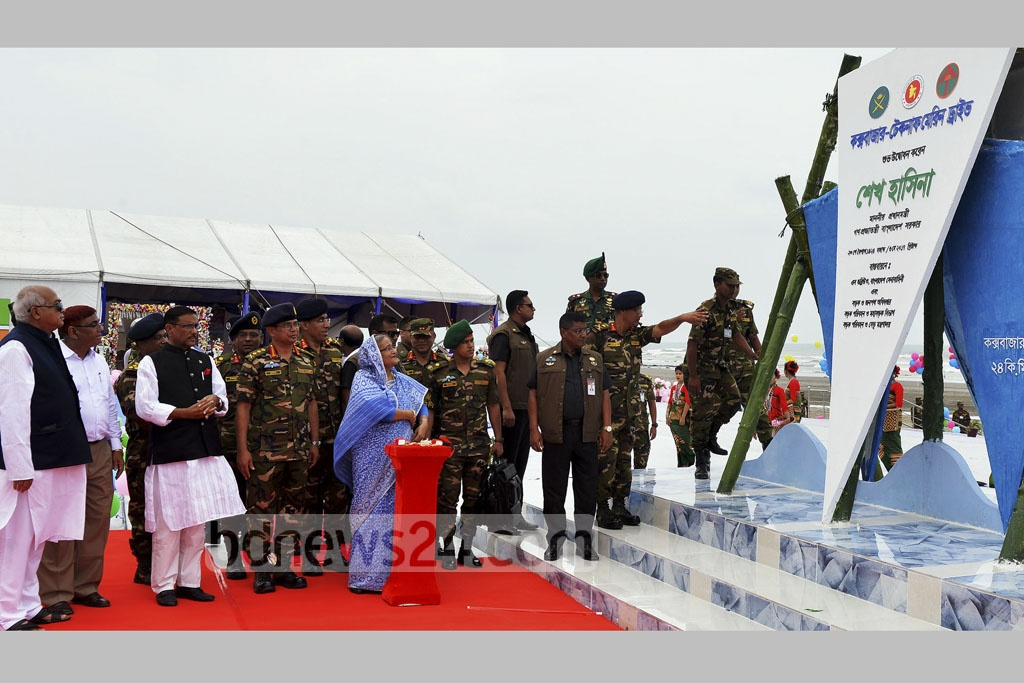 Prime Minister Sheikh Hasina inaugurates an 80km-long marine drive connecting Cox's Bazar and Teknaf on Saturday.