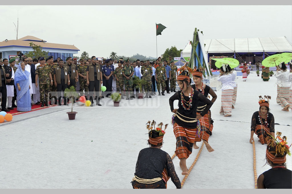Prime Minister Sheikh Hasina attends a Rakhine cultural show on Inani Beach on Saturday.