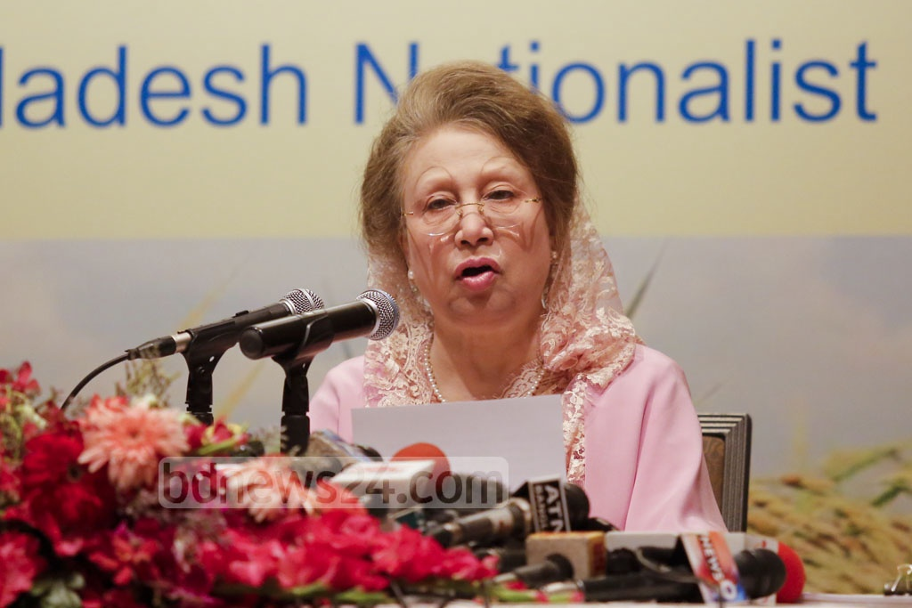 BNP chief Khaleda Zia speaks at a press conference to unveil the party's development roadmap Vision 2030 at the Westin hotel in Dhaka on Wednesday. Photo: mostafigur rahman