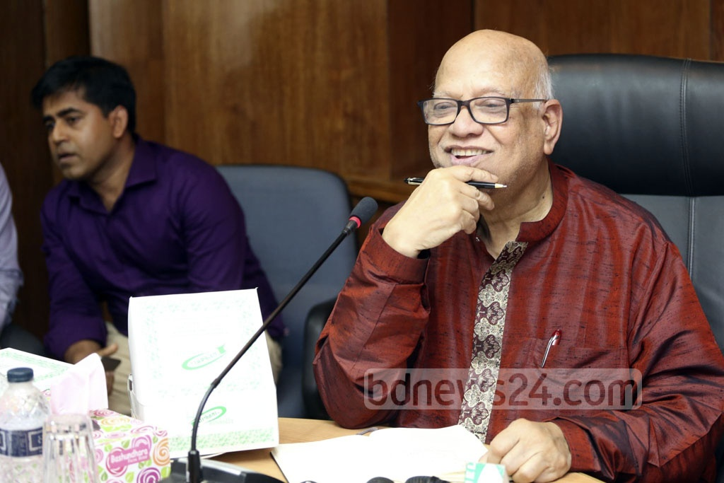 Finance Minister Abul Maal Abdul Muhith attends a discussion on the upcoming budget, organised by the Economic Reporters' Forum or ERF in Dhaka on Saturday.