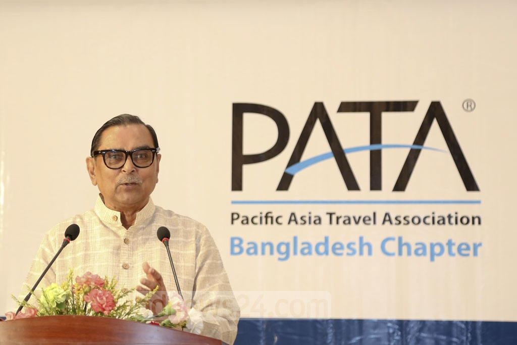 Civil Aviation and Tourism Minister Rashed Khan Menon speaks at an award ceremony at Dhaka Regency hotel on Saturday. The Pacific Asia Travel Association or PATA awarded 15 individuals and organisations for their outstanding contributions to the tourism sector.