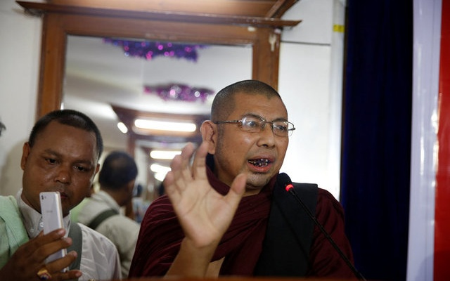 File Photo: Parmaukkha talks to media during a press conference about a scuffle between Buddhist nationalists and Muslims in Yangon, Myanmar, May 11, 2017. Reuters