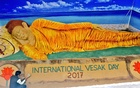 Sudarshan Pattnaik's reclining Buddha sculpture at the Indian pavilion in the International Vesak exhibition grounds in Colombo.