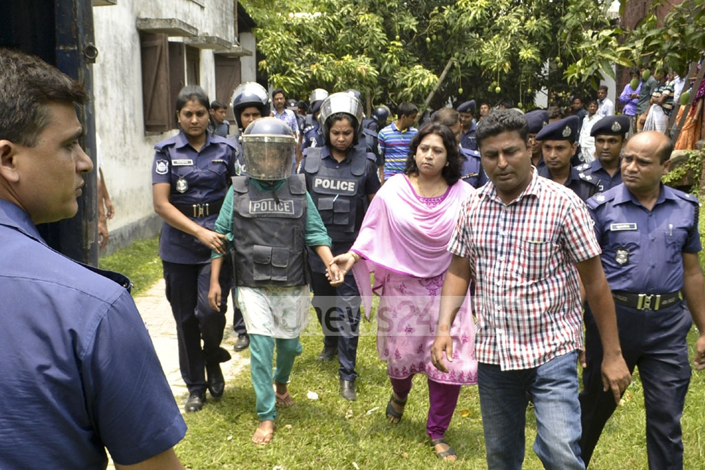 'Sumaiya', arrested during an operation on a terror hideout in Rajshahi's Godagari, is remanded in police custody for 10 days on Sunday. Photo: Gulbar Ali Juwel