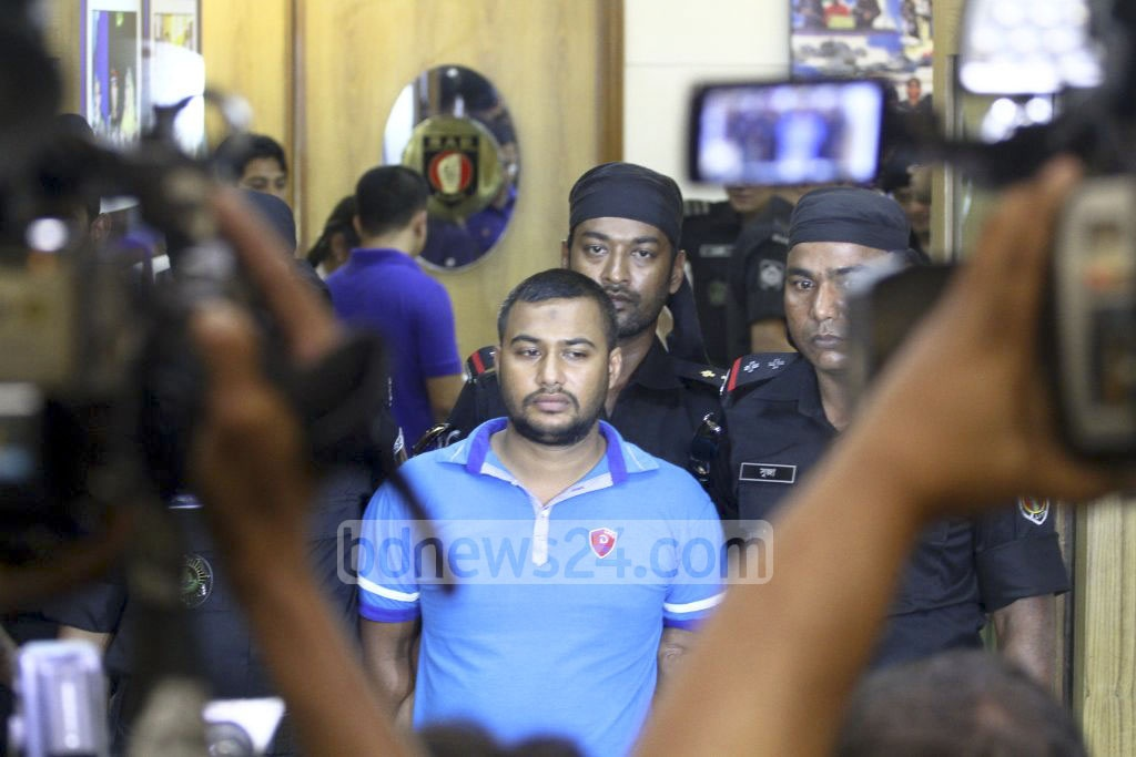 RAB arrests Billal Hossain, the driver of Banani rape suspect Safat Ahmed, in a hotel in Dhaka on Monday. Photo: abdul mannan