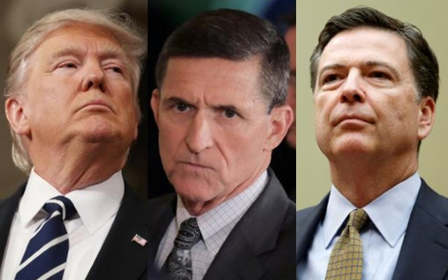 A combination photo shows US President Donald Trump (L), on Feb 28, 2017, White House National Security Advisor Michael Flynn (C), February 13, 2017 and FBI Director James Comey in Washington US on Jul 7, 2016. Reuters