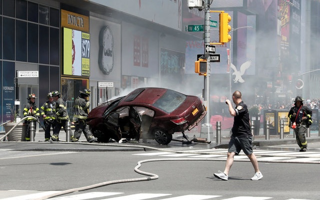 A vehicle that struck pedestrians in Times Square and later crashed is seen on the sidewalk in New York City, US, May 18, 2017. Reuters
