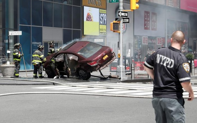 A vehicle that struck pedestrians in Times Square and later crashed on the sidewalk. Reuters