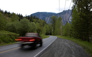 Southeast Reing Road, the location of the 'Welcome to Twin Peaks' sign in the television series, is pictured in Snoqualmie, Washington, U.S. May 14, 2017. Picture taken May 14, 2017. Reuters