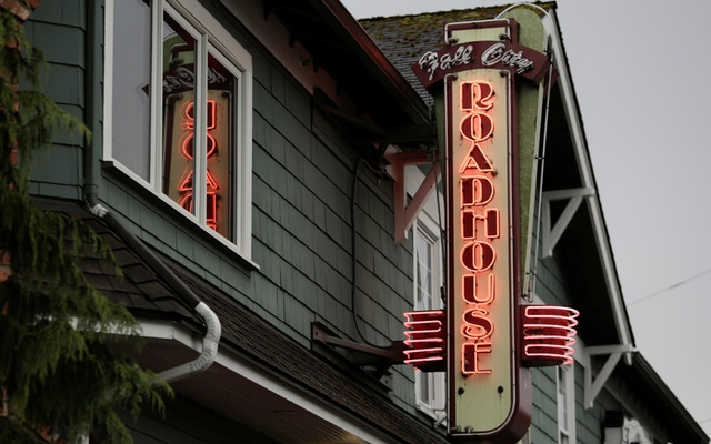 A sign at the the Roadhouse Restaurant and Inn, used as the exterior for the Roadhouse in the 'Twin Peaks' television series, is pictured in Fall City, Washington, U.S. April 27, 2017. Picture taken April 27, 2017. Reuters