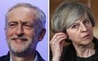 A combination photo shows the leader of the UK Labour Party, Jeremy Corbyn (L) and UK Prime Minister and leader of the Conservative Party Theresa May (R). Photos taken from Reuters.