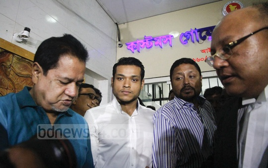 Raintree hotel Managing Director Adnan Haroon comes out of Customs Intelligence and Investigation Division's office in Dhaka on Tuesday after answering questions about unlicensed alcohol recovered from the hotel.