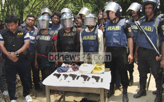 Police recover pistols and ammunition after raiding various areas in Chapainawabganj as part of anti-terror measures on Wednesday.