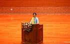 Myanmar State Counsellor Aung San Suu Kyi speaks at the opening ceremony of the 21st Century Panglong Conference in Naypyitaw, Myanmar May 24, 2017. Reuters