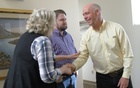 Montana Republican congressional candidate Greg Gianforte greets voters while campaigning for a special election in Missoula, Montana, US May 24, 2017 in this still image from video. Reuters