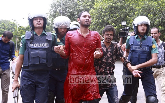 Police detained several people, including Bangladesh Students' Union leader Liton Nandi who took out a procession from Dhaka University towards Supreme Court to protest against removal of the Lady Justice statue from the court premises on Friday.