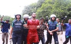 Police take away General Secretary of left-leaning Bangladesh Students Union Liton Nondi from the demonstration held on Friday.