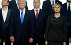 (L-R) Greek Prime Minister Alexis Tsipras, US President Donald Trump, Hungarian Prime Minister Voktor Orban and Britain's Prime Minister Theresa May pose during a family photo at the start of NATO summit at their new headquarters in Brussels, Belgium, May 25, 2017. Reuters