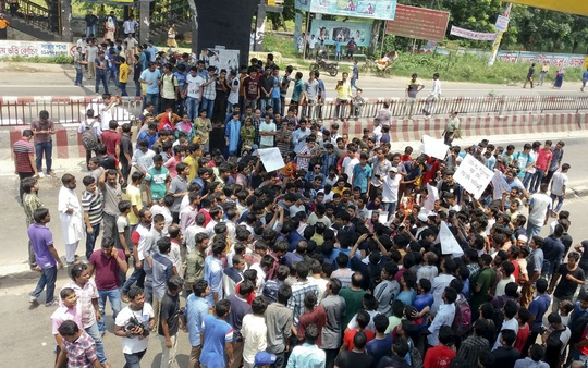 Jahangirnagar University students blocked the Dhaka-Aricha Highway in front of their campus in Savar on Saturday following the death of two students by a bus the previous day.
