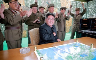 File photo: Kim Jong Un reacts during a test launch of ground-to-ground medium long-range ballistic rocket Hwasong-10 in this undated photo released Jun 23, 2016. Reuters