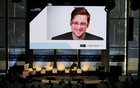 Edward Snowden speaks via video link during the Estoril Conferences - Global Challenges, Local Answers in Estoril, Portugal May 30, 2017. Reuters
