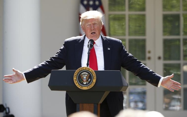 US President Donald Trump announces his decision that the United States will withdraw from the landmark Paris Climate Agreement, in the Rose Garden of the White House in Washington, US, June 1, 2017. Reuters