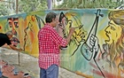 The Sammilita Sangskritik Jote, the leading cultural platform of Bangladesh, organised a wall-painting campaign on Saturday protesting radical Islamists' influence on the government.