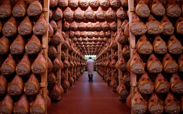 A worker walks in a special room where the Parma hams are hung to dry in Langhirano near Parma, Italy, Oct 13, 2009. Reuters