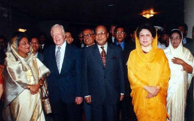 Sheikh Hasina and Khaleda Zia joined a reception in 2011 hosted by the then chief adviser Latifur Rahman for visiting former US president Jimmy Carter.