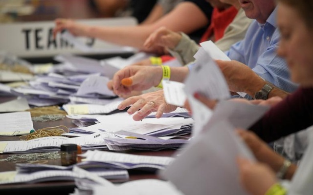 Ballots are counted at a counting centre for Britain's general election in Maidenhead. Reuters